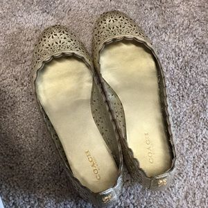 Coach Gold Leather Flats